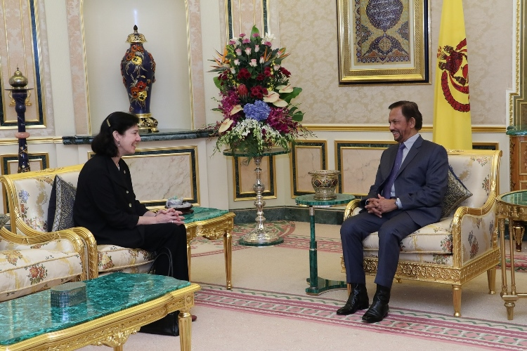 HIS MAJESTY THE SULTAN AND YANG DI-PERTUAN OF BRUNEI DARUSSALAM RECEIVES OUTGOING HIGH COMMISSIONER OF CANADA